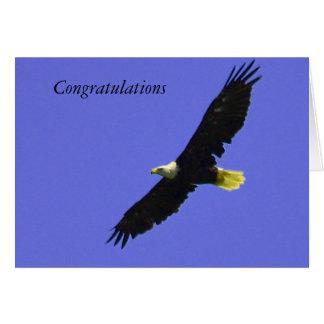 Congratulations card with soaring eagle photo