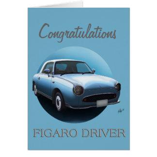 Congratulations Figaro Driver - Pale Aqua Greeting Card