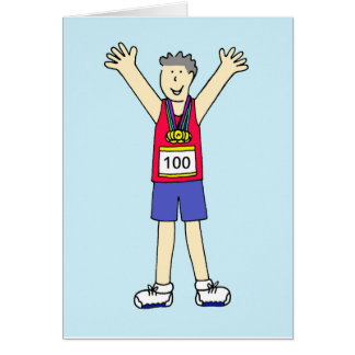 Congratulations for a man on 100th Marathon. Card