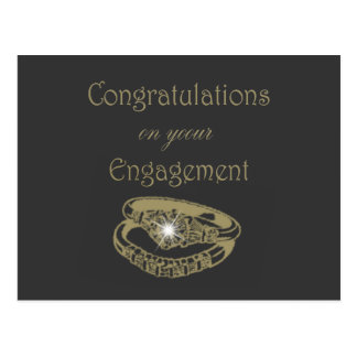 Congratulations Gold Engagement Rings Postcard