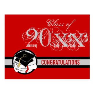 Congratulations Graduation Postcard Diploma Red 1