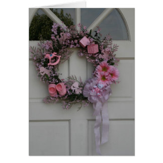 congratulations on new baby girl card with wreath
