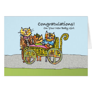 Congratulations on New Baby Girl, Cat Family Greeting Card