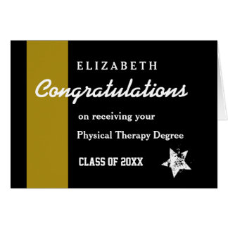CONGRATULATIONS Physical Therapy Gold Stripe Greeting Card