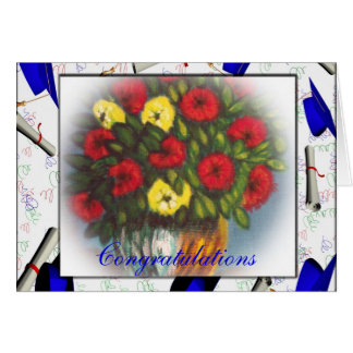 Congratulations Red Yellow Flowers Horizontal Card