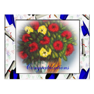 Congratulations Red Yellow Flowers Postcard