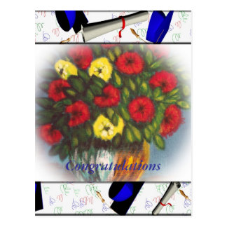 Congratulations Red Yellow Flowers V Postcard
