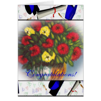 Congratulations Red Yellow Flowers Vertical Card