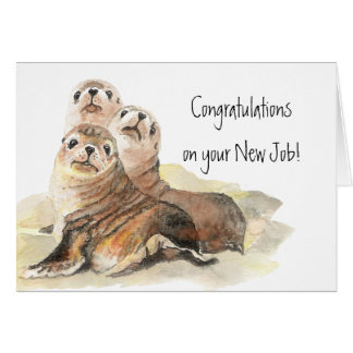Congratulations Seals of Approval New Job Greeting Card