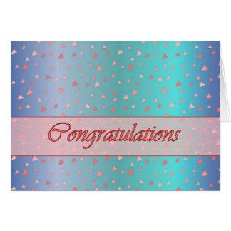 Congratulations Tiny Hearts Pink Blue Card