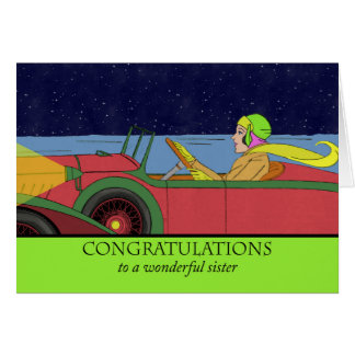 Congratulations to Sister on New Car, Vintage Auto Greeting Card