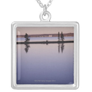 Conifer Trees, Yellowstone Lake Silver Plated Necklace