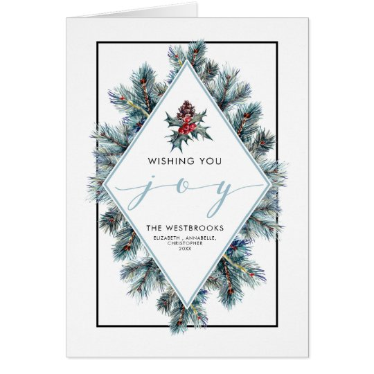 Conifier and Red Berries Holiday Card