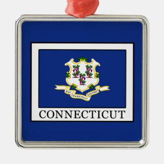 Connecticut Silver-Colored Square Decoration
