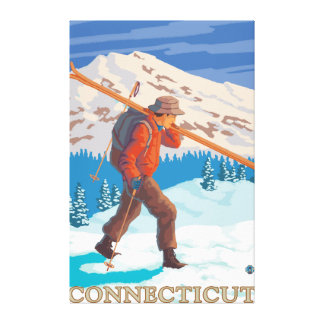ConnecticutSkier Carrying Skis Canvas Print