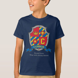 Connor boys C name & meaning knights shield T-Shirt