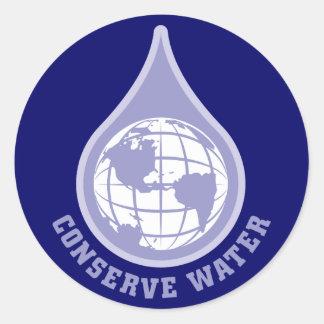Conserve Water Round Sticker