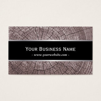 Construction Classy Old Wood Tree Rings Texture Business Card