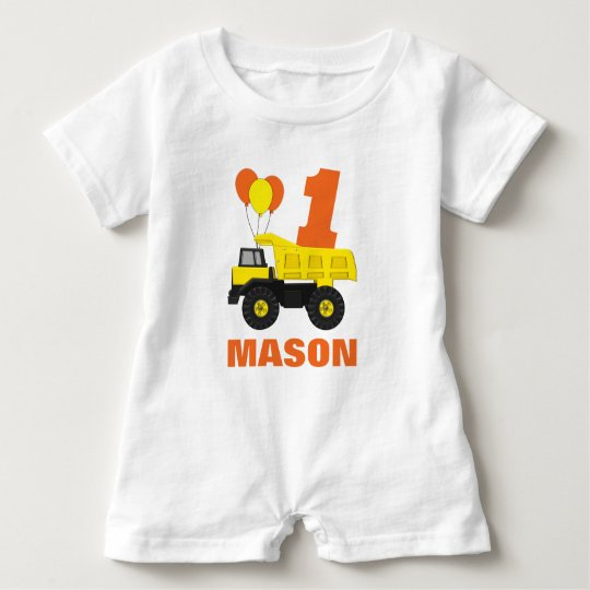 Construction First Birthday Outfit, Romper Baby Bodysuit