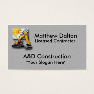 Construction Gray with Backhoe Business Card Templ