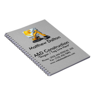 Construction Gray with Backhoe Spiral Notebook