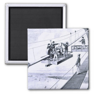 Construction of Brooklyn Bridge, New York (litho) Magnet