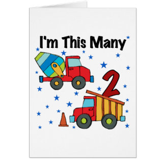 Construction Vehicles 2nd Birthday Gifts Note Card