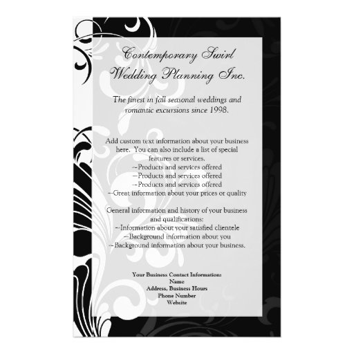 Contemporary Black and White Swirl Flyer Design