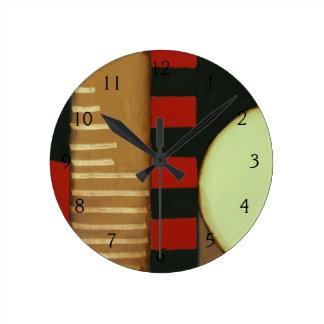 Contemporary Loft Style Paneled Painting Round Clock