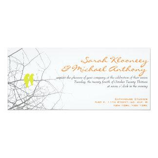 Contemporary Love Birds 10 Cm X 24 Cm Invitation Card