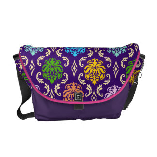 Contemporary Multicolor Damask Bag Commuter Bags