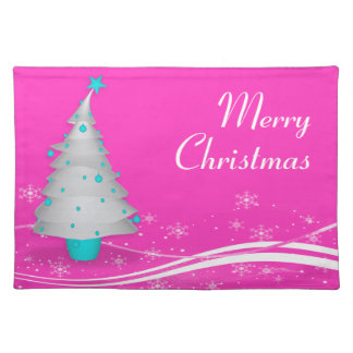 Contemporary Pink Background White Christmas Tree Placemat