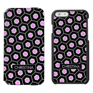 contemporary Pink honeycomb pattern Incipio Watson™ iPhone 6 Wallet Case