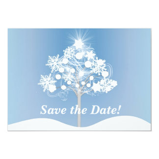 Contemporary Winter Tree Save the Date Postcard