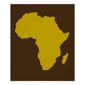 """""""Continent of Africa - Bold Gold"""" Poster"""