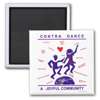 Contra Dance Joy Square Magnet