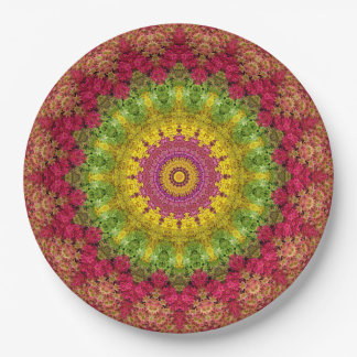Convenient Magenta, Yellow, & Green Mandala Art Paper Plate