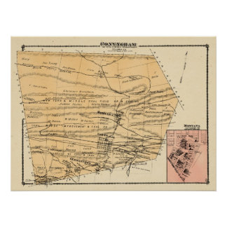 Conyngham Twp Montana 1876 Beers Atlas Poster