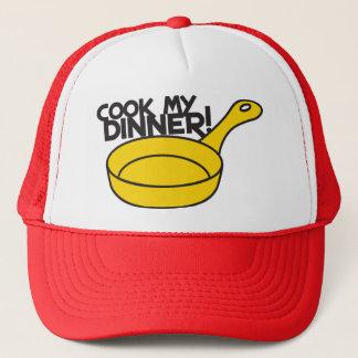 cook my dinner! with saucepan frying pan trucker hat