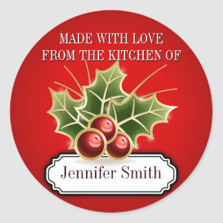 Cookie Exchange Baking Gift label with Holly Berry Round Sticker