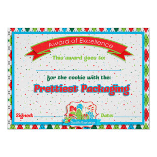 Cookie Exchange Prettiest Packaging Award Personalized Announcement Cards