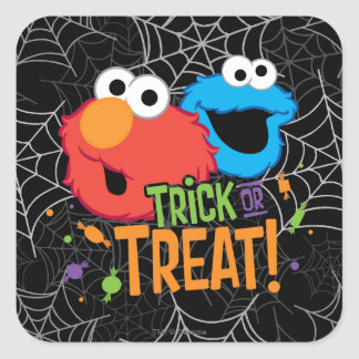 Cookie Monster and Elmo - Trick or Treat Square Sticker