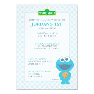 Cookie Monster Baby Birthday 13 Cm X 18 Cm Invitation Card