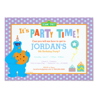 Cookie Monster Birthday 13 Cm X 18 Cm Invitation Card