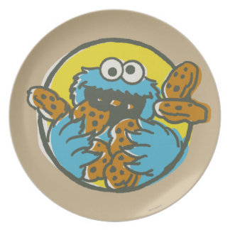 Cookie Monster Retro Plate