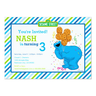 Cookie Monster Striped Birthday 13 Cm X 18 Cm Invitation Card