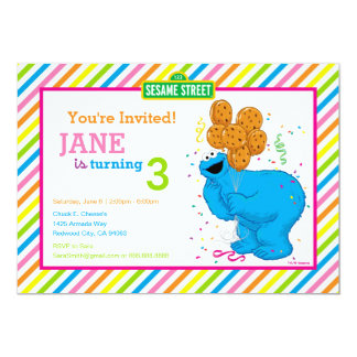 Cookie Monster Striped Birthday Card