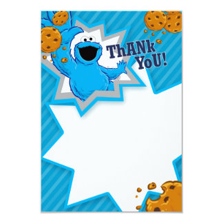 Cookie Monster Thank You 9 Cm X 13 Cm Invitation Card