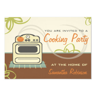 "Cooking Party - Retro Stove Brown Orange Blue 5"" X 7"" Invitation Card"