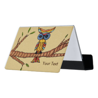 Cool Abstract Colorful Owl Big Eyes on Tree Branch Desk Business Card Holder